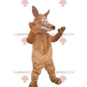 Brązowy pies maskotka z długą kagańcem