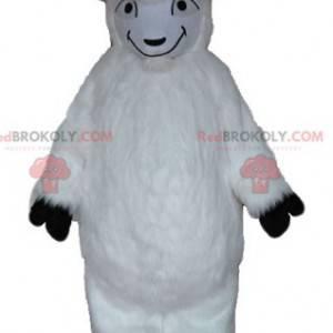 Mascote de cabra branca toda peluda - Redbrokoly.com