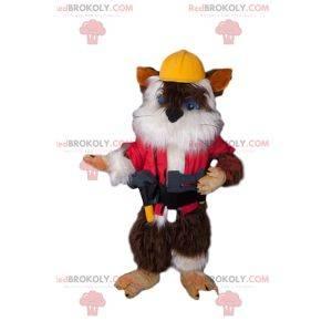 Roztomilé kotě maskot v stavební oblečení