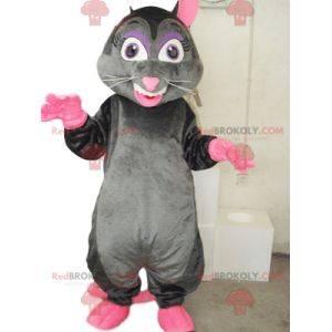 Muito alegre mascote de rato cinza e rosa.