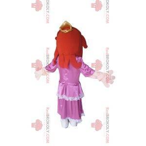 Maskot princezny s růžovými saténovými šaty.