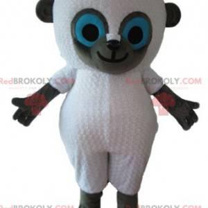 Weißes und graues Schafmaskottchen mit blauen Augen -