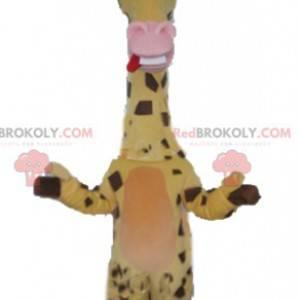 Sehr lustiges gelbbraunes und rosa Giraffenmaskottchen -