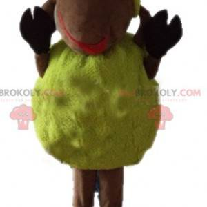 Mascota de oveja amarilla y marrón suave y peluda -