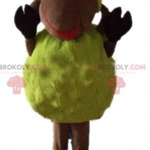Mascote de ovelha amarela e marrom macia e peluda -