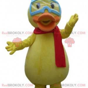 Riesiges gelbes Küken-Enten-Maskottchen mit Gläsern -