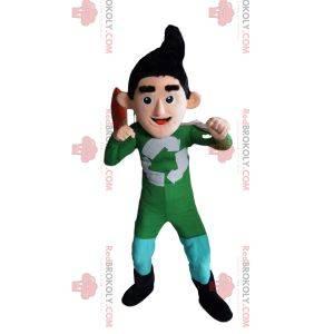 Reciclaje de la mascota del superhéroe en traje verde