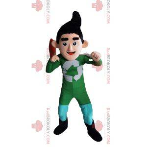 Recycling superheld mascotte in groene outfit
