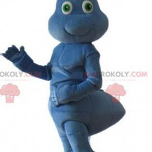 Velmi roztomilý a usměvavý modrý mravenec maskot -