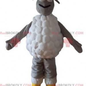 Mascotte di pecora grigia e bianca molto originale e sorridente