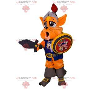 Knight cat mascot with accessories