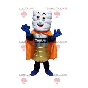 White stack mascot with a golden costume and an orange cape