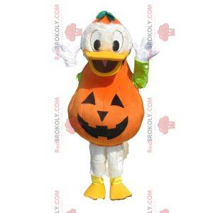 Donald mascotte met een pompoen-outfit