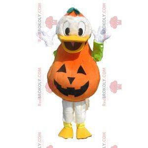 Mascote Donald com uma roupa de abóbora