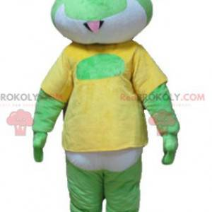 Maskot zelená bílá a žlutá žába - Redbrokoly.com