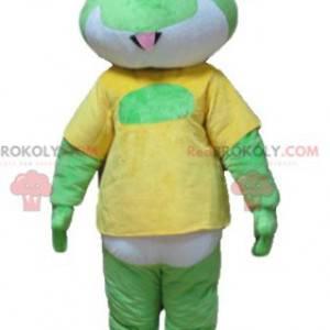 Maskottchen grüner weißer und gelber Frosch - Redbrokoly.com