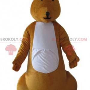 Very successful orange and white kangaroo mascot -