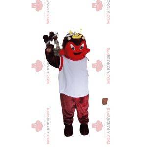 Maskotka czerwonego diabła z białą koszulką
