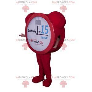 Red morning alarm clock mascot