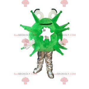 Fluorescent green and gray virus mascot. Virus costume