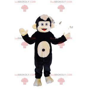 Muito feliz mascote do sagui preto e bege. Fantasia de sagui