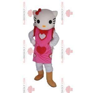 Maskot Hello Kitty s pěkně růžovými srdíčkovými šaty
