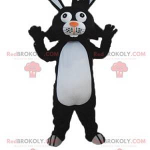 Maskot černobílý králík s velkýma ušima - Redbrokoly.com