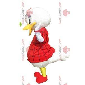 Mascota de la margarita con un vestido rojo de Halloween