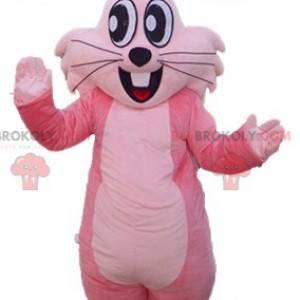 Jovial and smiling giant pink rabbit mascot - Redbrokoly.com
