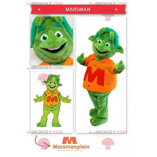 Zelený mimozemský marťanský maskot - Redbrokoly.com