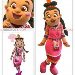 Indisk maskot kledd i en rosa kjole - Redbrokoly.com