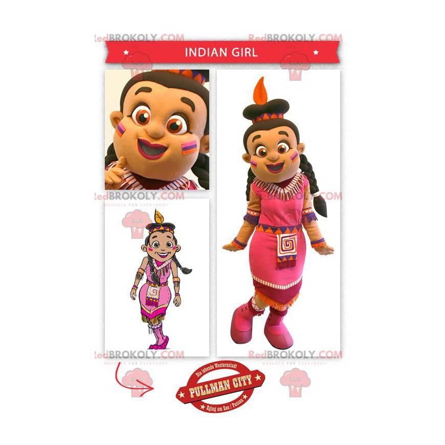 Indický maskot oblečený v růžových šatech - Redbrokoly.com