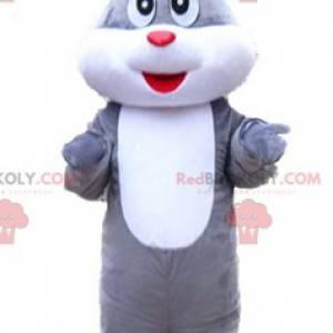 Jowialna i urocza słodka szaro-biała maskotka królika -
