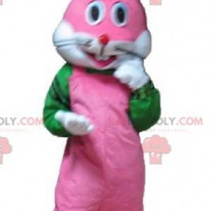 Velmi usměvavý růžový bílý a zelený králík maskot -