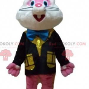 Rosa und weißes Kaninchenmaskottchen mit einer bunten Weste -