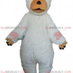 Maskott stor hvit og brun bjørn søt og lubben - Redbrokoly.com