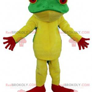 Very successful yellow red and green frog mascot -
