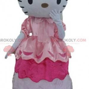 Maskot slavné kočky Hello Kitty v růžových šatech -