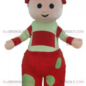 Giant red and green baby doll mascot - Redbrokoly.com