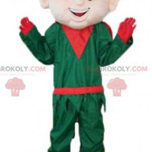 Christmas elf elf mascot in green and red outfit -