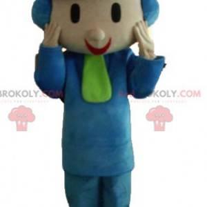 Mascotte bambino vestito in abiti invernali con un cappello -