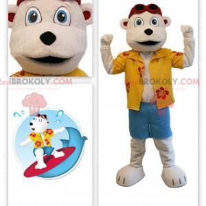 Beige teddy bear mascot in vacationer outfit - Redbrokoly.com