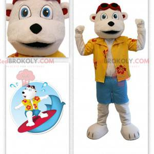 Maskot béžový medvídek v oblečení rekreanta - Redbrokoly.com