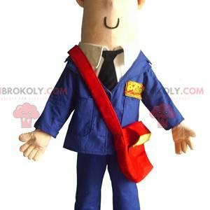 Postbud maskot kledd i blå uniform - Redbrokoly.com