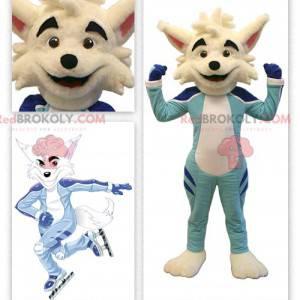 Béžová liška maskot v bruslařském oblečení - Redbrokoly.com