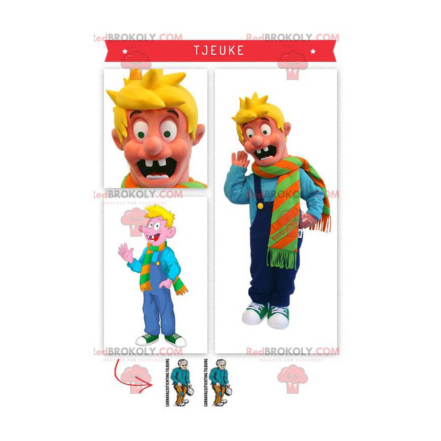 Tjeuke blond boy mascot famous character in Holland -