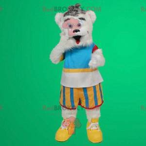 White teddy bear mascot in colorful outfit - Redbrokoly.com
