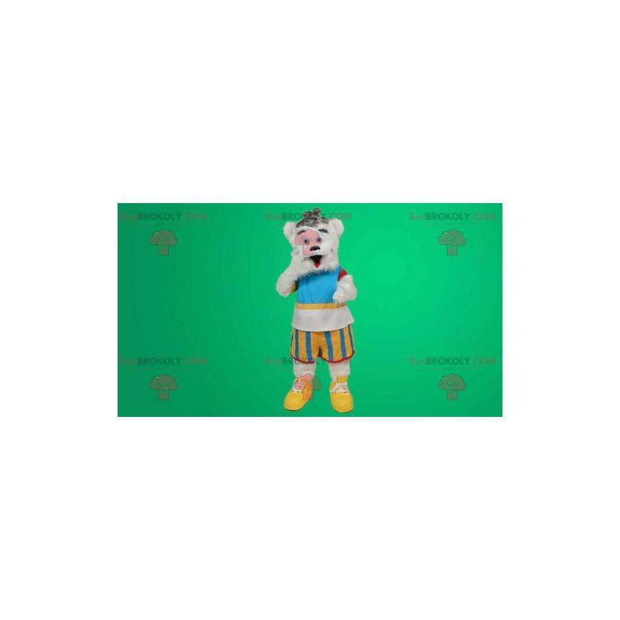 Biały miś maskotka w kolorowym stroju - Redbrokoly.com