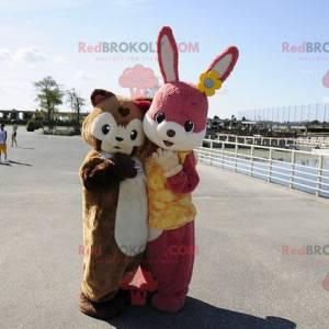 Pink rabbit mascot and brown guinea pig - Redbrokoly.com