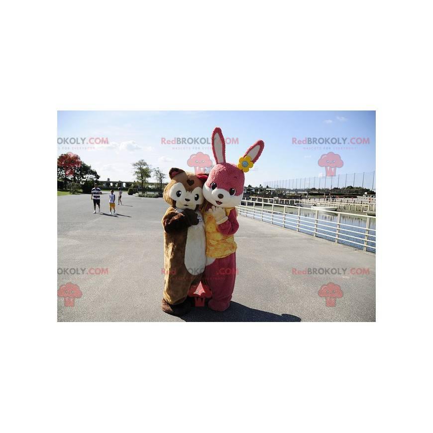 Maskot růžový králík a hnědé morče - Redbrokoly.com